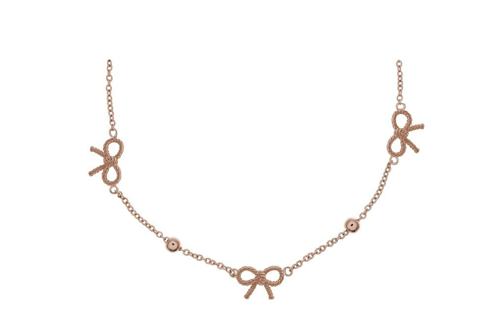 Olivia Burton Vintage Bow and Ball Rose Gold Necklace 1