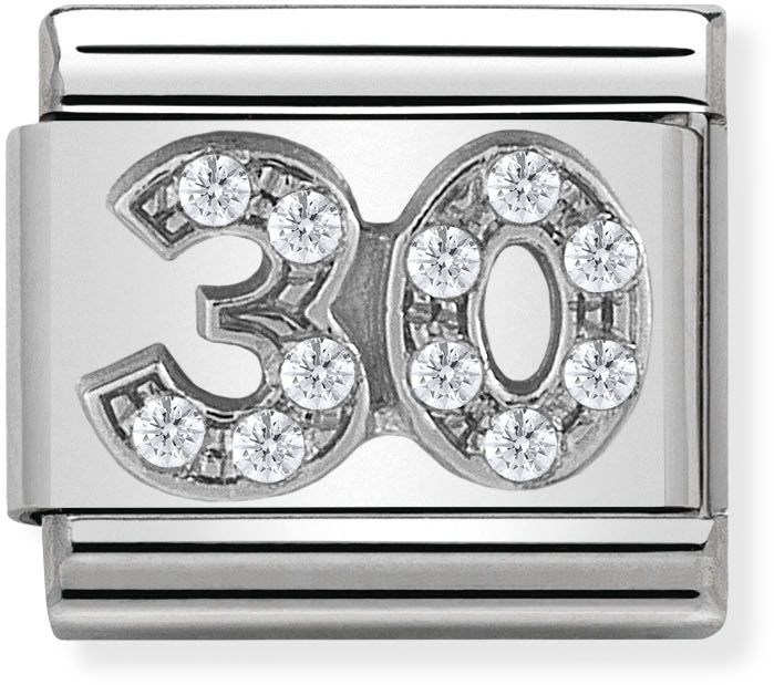 Nomination Silver Crystal 30 Birthday Charm 1