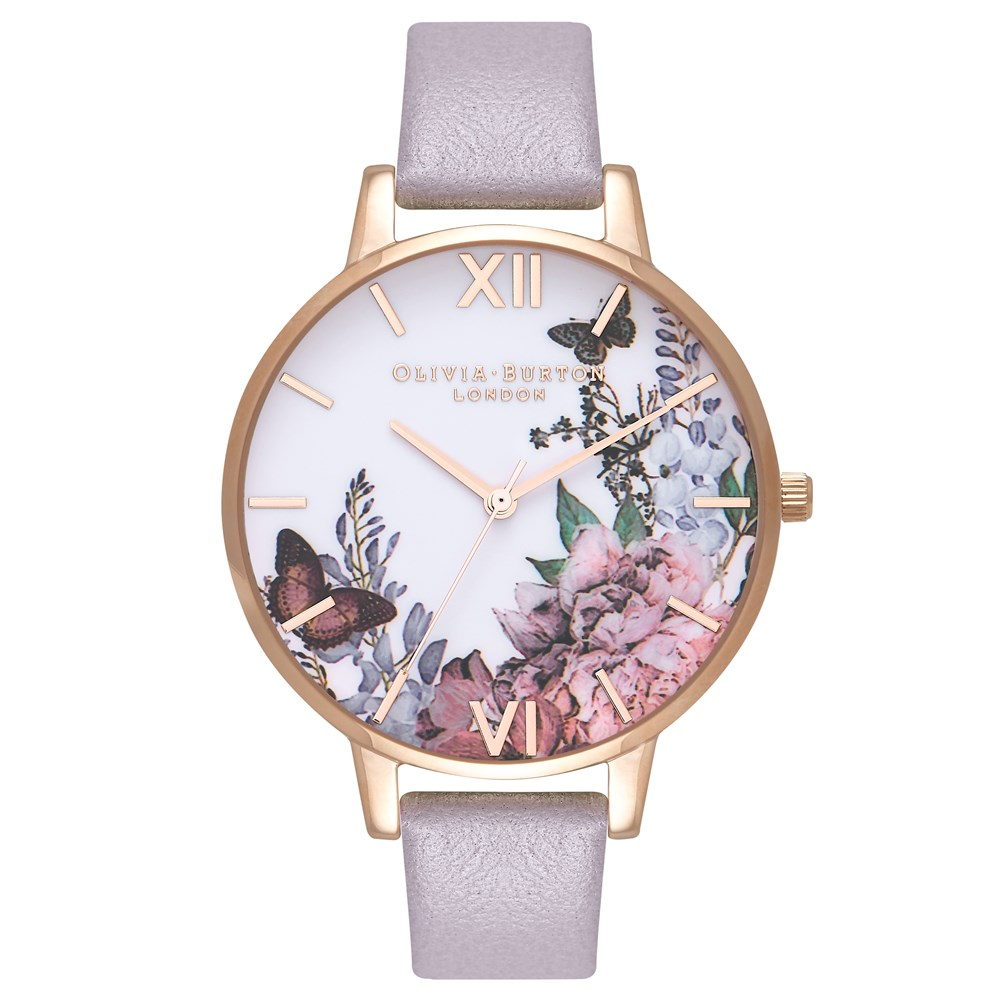 Olivia Burton Winter Garden Grey Lilac   Rose Gold Watch - Click to view  larger image 9b591baff