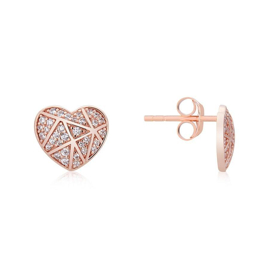 Argento Rose Gold Crystal Line Heart Earrings 1
