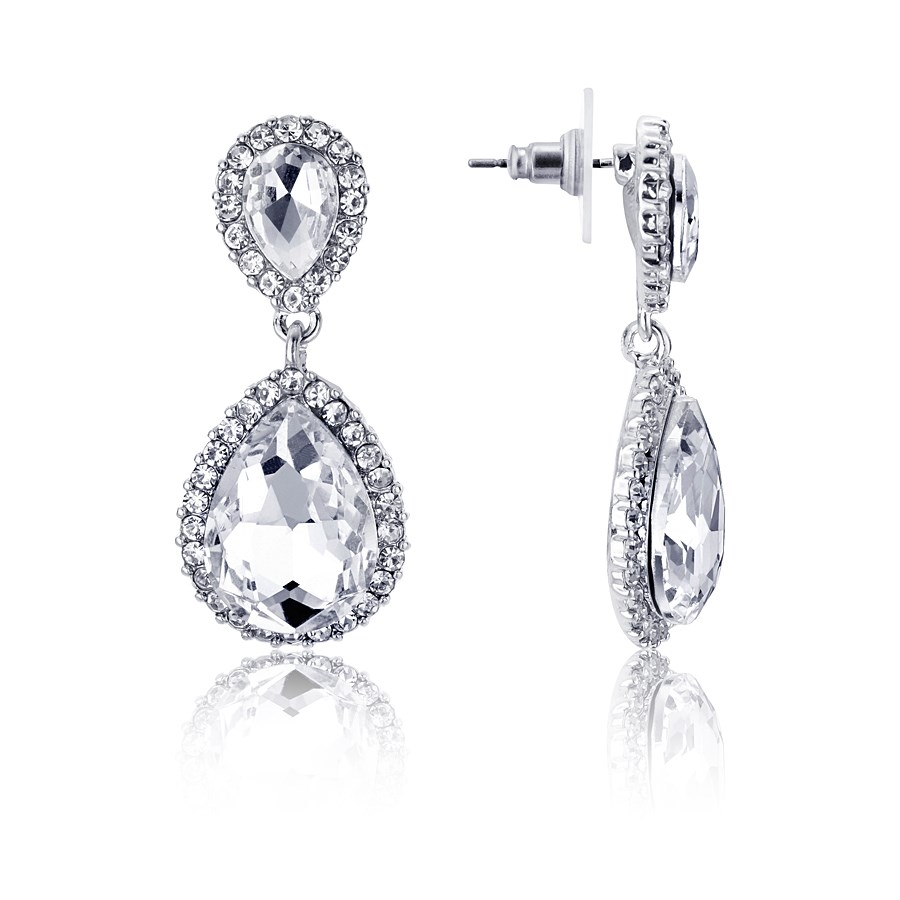 August Woods Silver Pave Drop Earrings  1