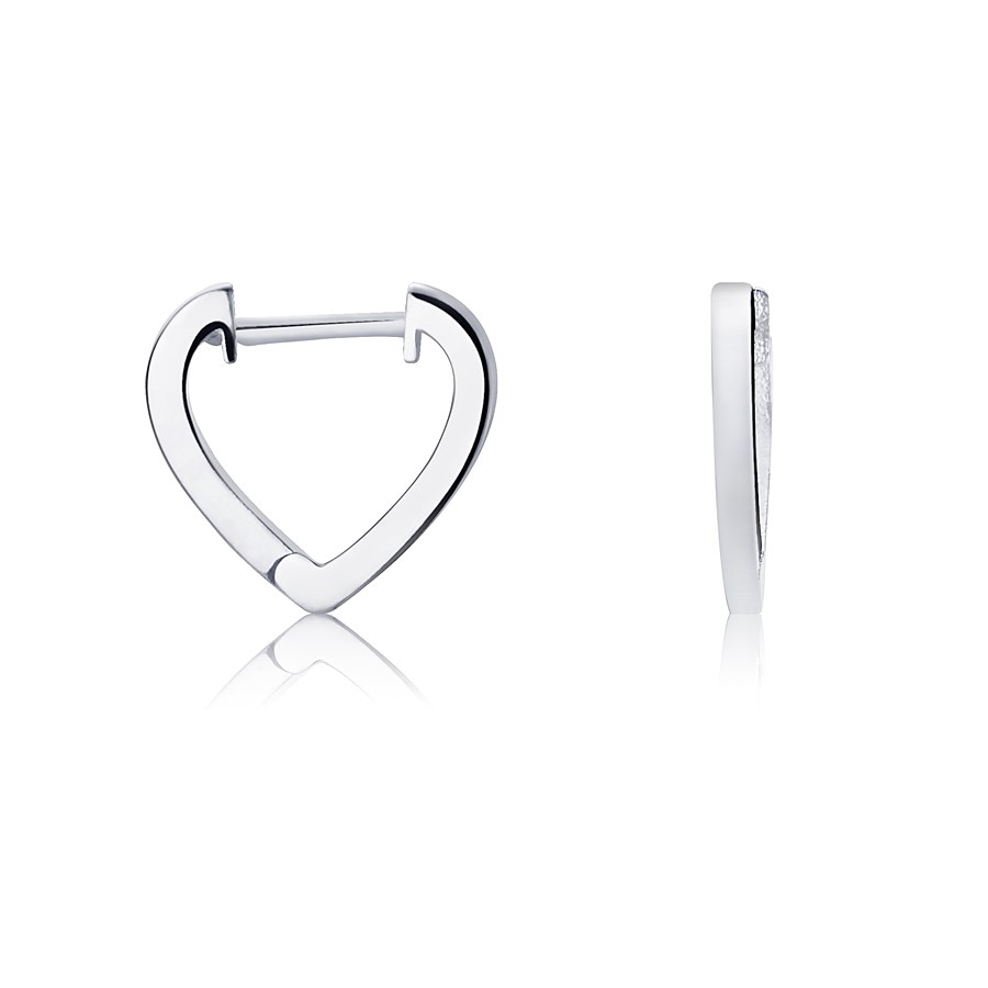 Argento Silver Heart Huggie Earrings 1