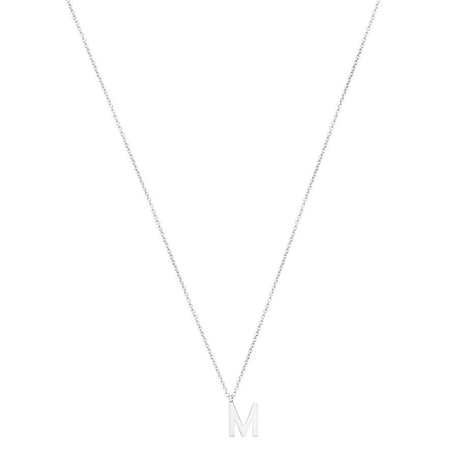 Argento Silver Letter M Initial Necklace 1