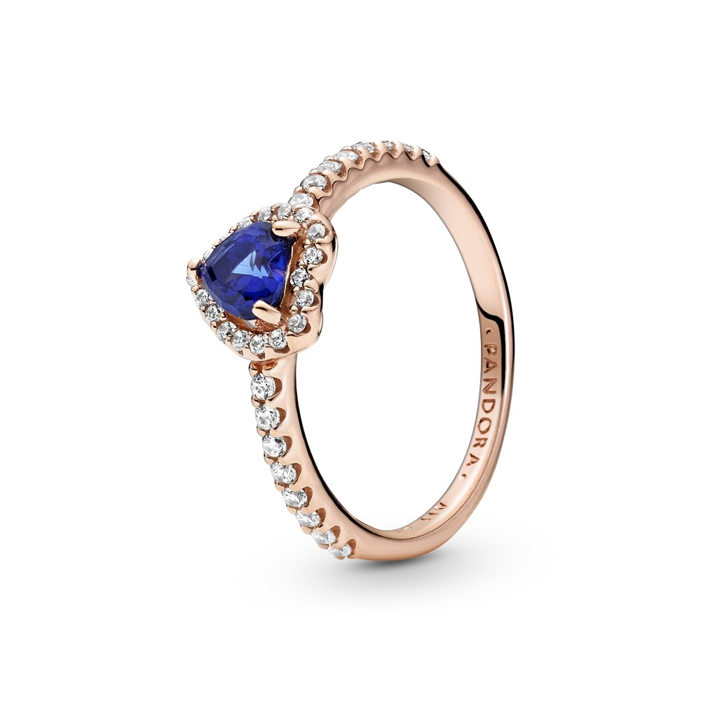 Pandora Rose Sparkling Blue Elevated Heart Ring 1
