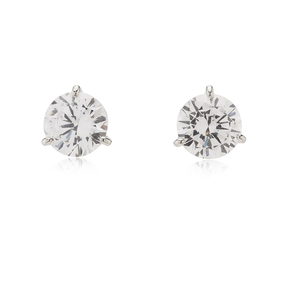Kate Spade New York Silver Brilliant Crystal Trio Prong Earrings 1