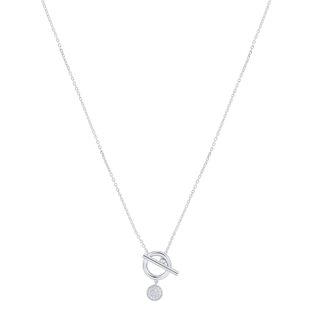 Argento Silver T-Bar Crystal Necklace 1
