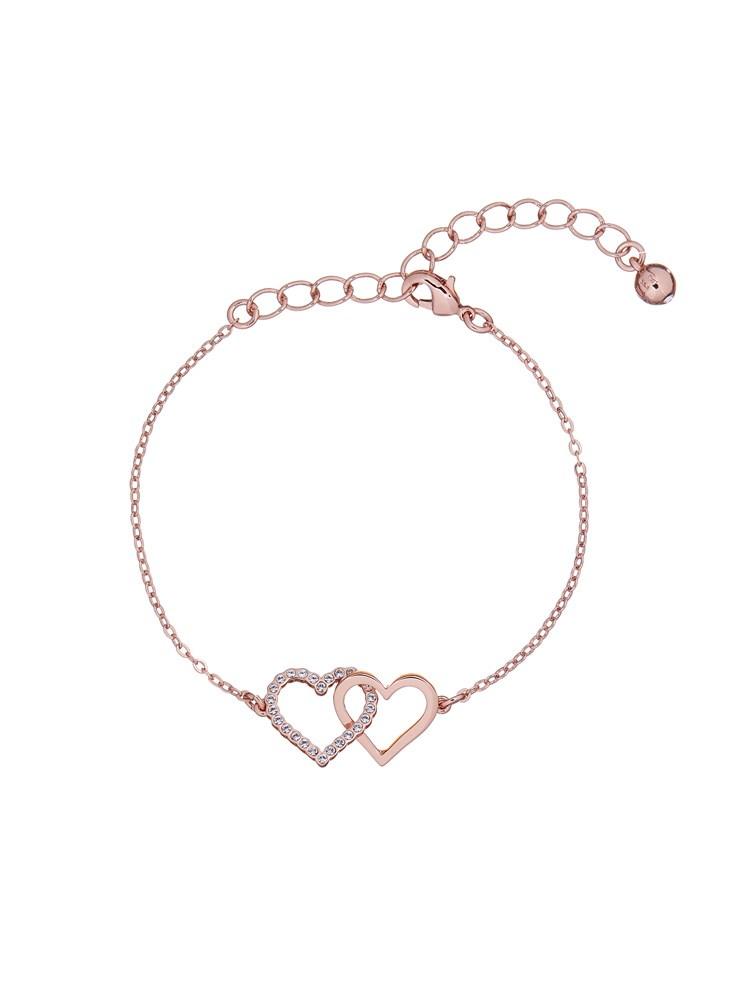 Rose Gold Crystal Linked Hearts Bracelet
