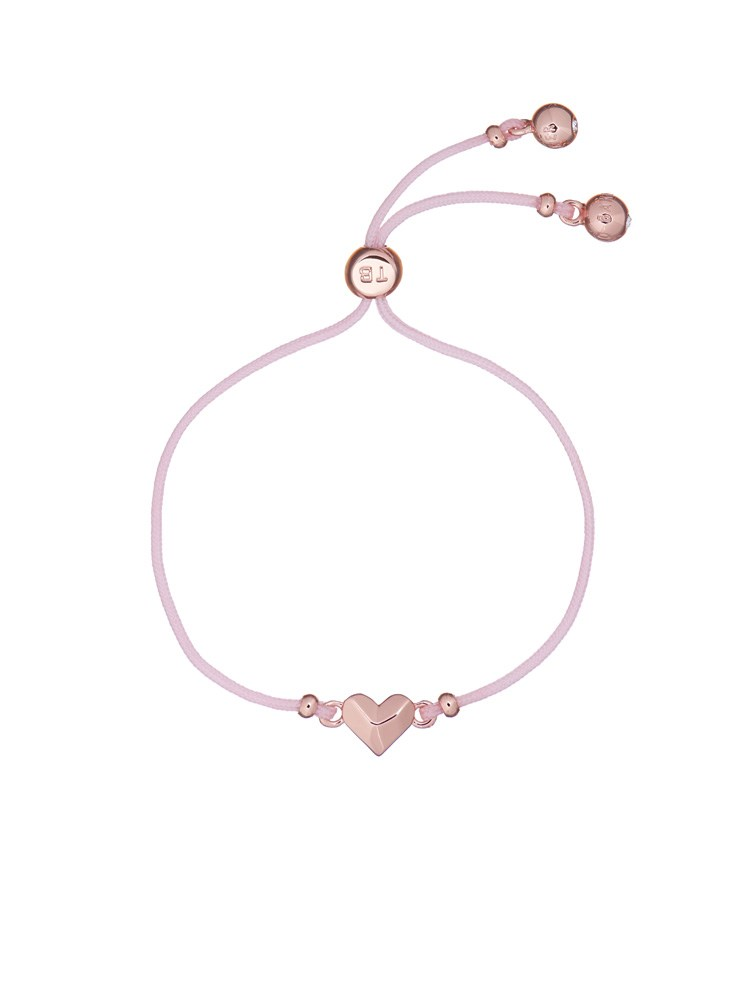 Ted Baker Pink Faceted Heart Fabric Pull Bracelet  1