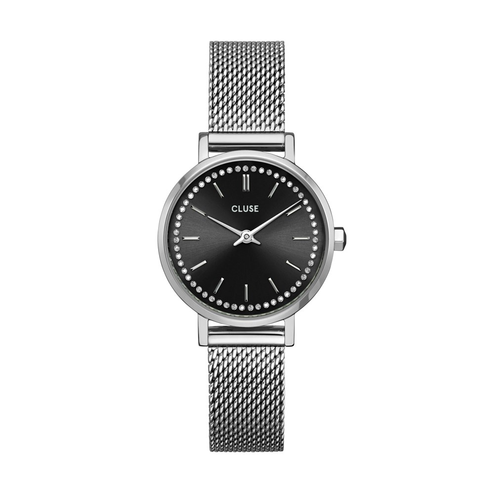 CLUSE Silver + Black Boho Chic Petite Crystals Watch 1