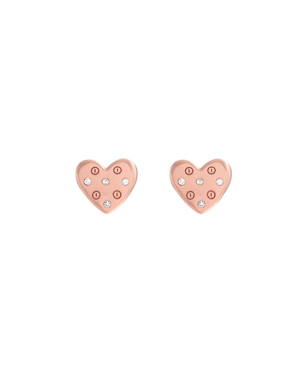 Olivia Burton Rose Gold Heart Screw Earrings 1