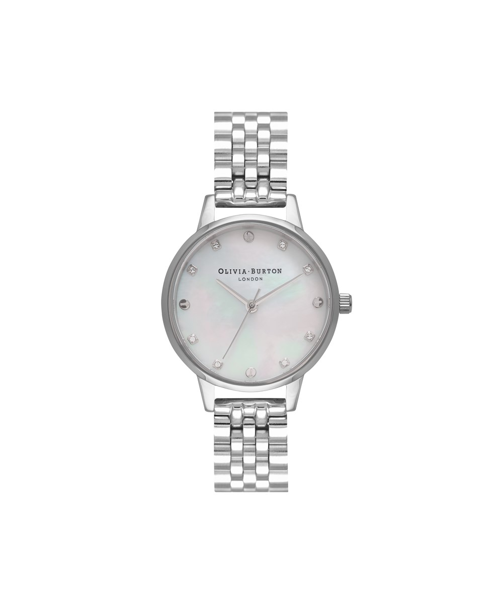 Olivia Burton Silver Mother Of Pearl Dial Bracelet Watch 1