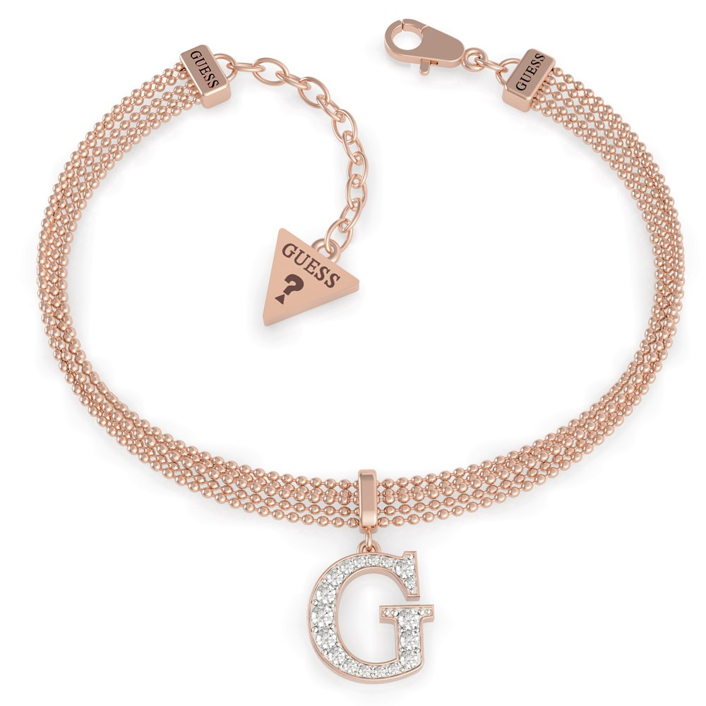 Guess Rose Gold G Crystal Chain Bracelet 1