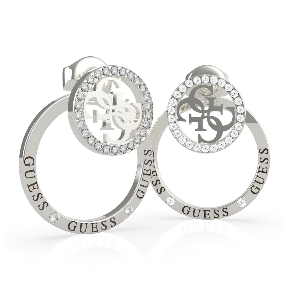 Guess Silver Embrace Rings Logo Earrings 1