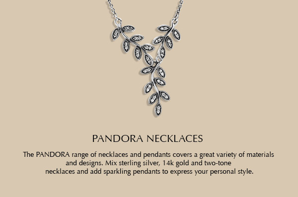 The PANDORA range of necklaces and pendants covers a great variety of materials and designs. Mix sterling silver, 14k gold and two-tone necklaces and add sparkling pendants to express your personal style.
